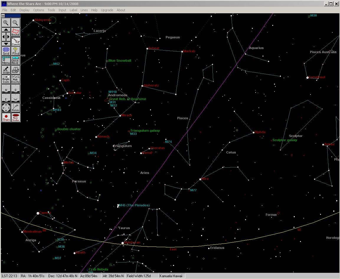 October 2008 sky charts